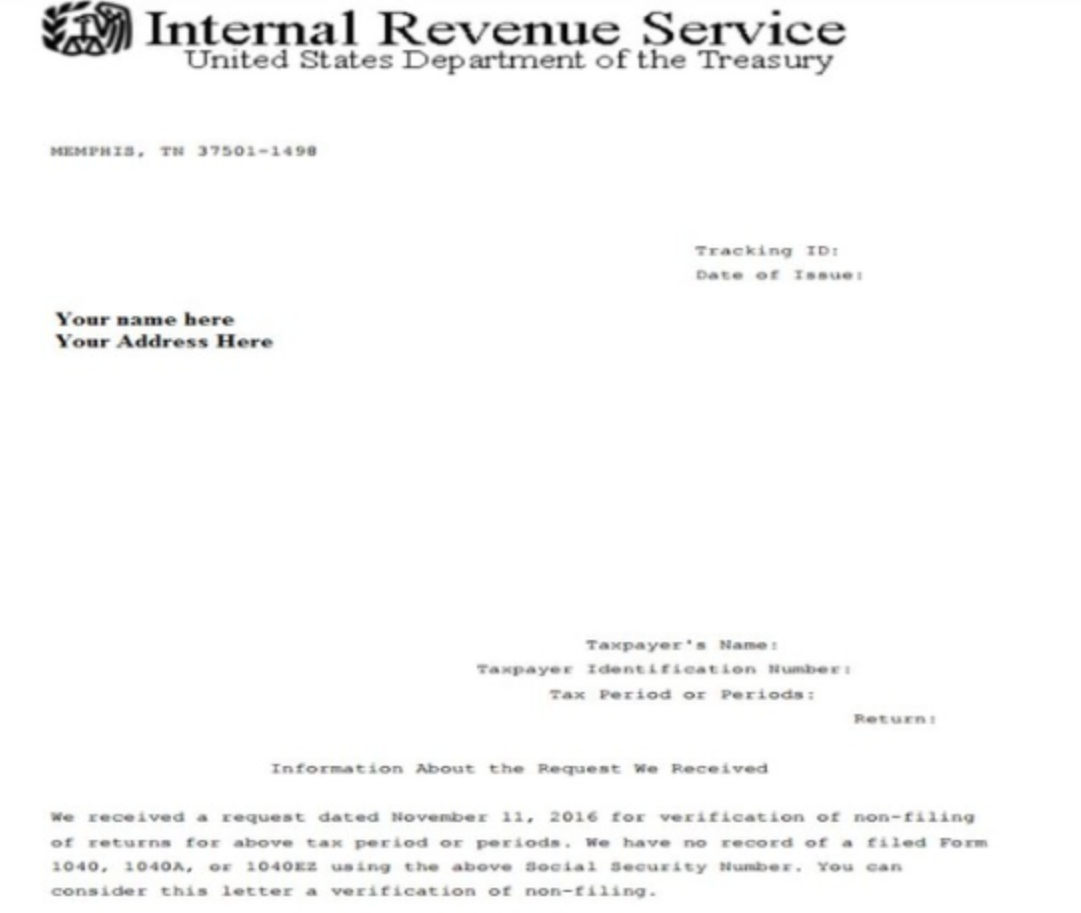 what is an irs verification of non-filing letter? | niner central